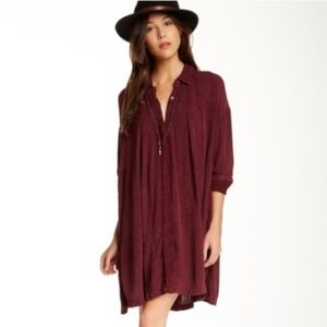 Free People Spin Me Tunic Dress Maroon Red Small